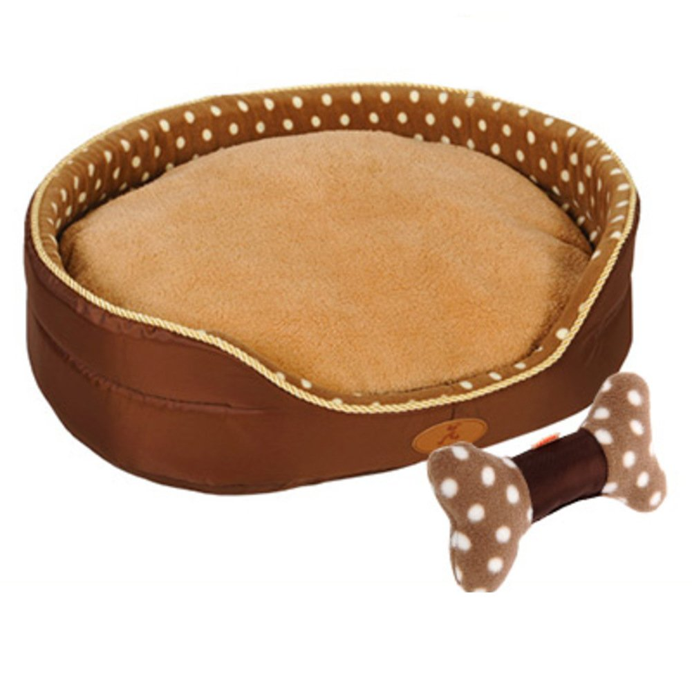 Deluxe soft reversible pet dog bed with bed cushion, Washable Pet basket Pet nest Pet bolster bed-D M 65x50x18cm(26x20x7inch)
