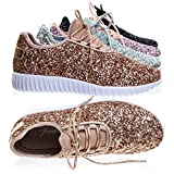 Remy18 Rose Gold Lace Up Rock Glitter Fashion Sneaker W Elastic Tongue & White Outsole -9 | amazon.com