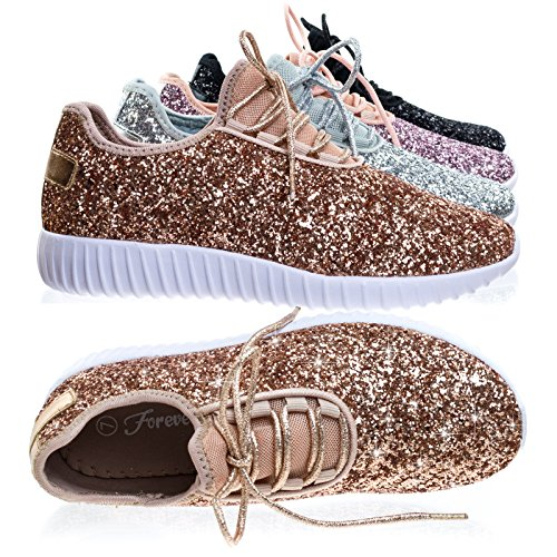 Remy18+Rose+Gold+Lace+up+Rock+Glitter+Fashion+Sneaker+w+Elastic+Tongue+%26+White+Outsole+-9
