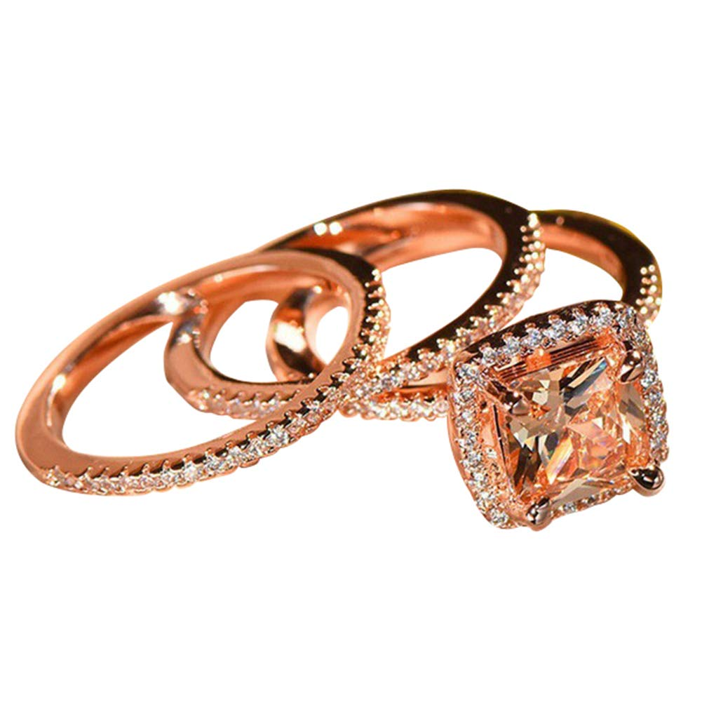Slendima 3 Pcs Princess Rhinestone Finger Ring Wedding Engagement Bridal Jewelry Gift Rose Gold US 7