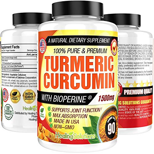 Turmeric Curcumin with Bioperine 1500mg. Maximum Potency. Pain Relief Support & Joint Support Supplement 95% Standardized Curcuminoids. Non-GMO Tumeric Gluten Free Turmeric Capsules with Black Pepper