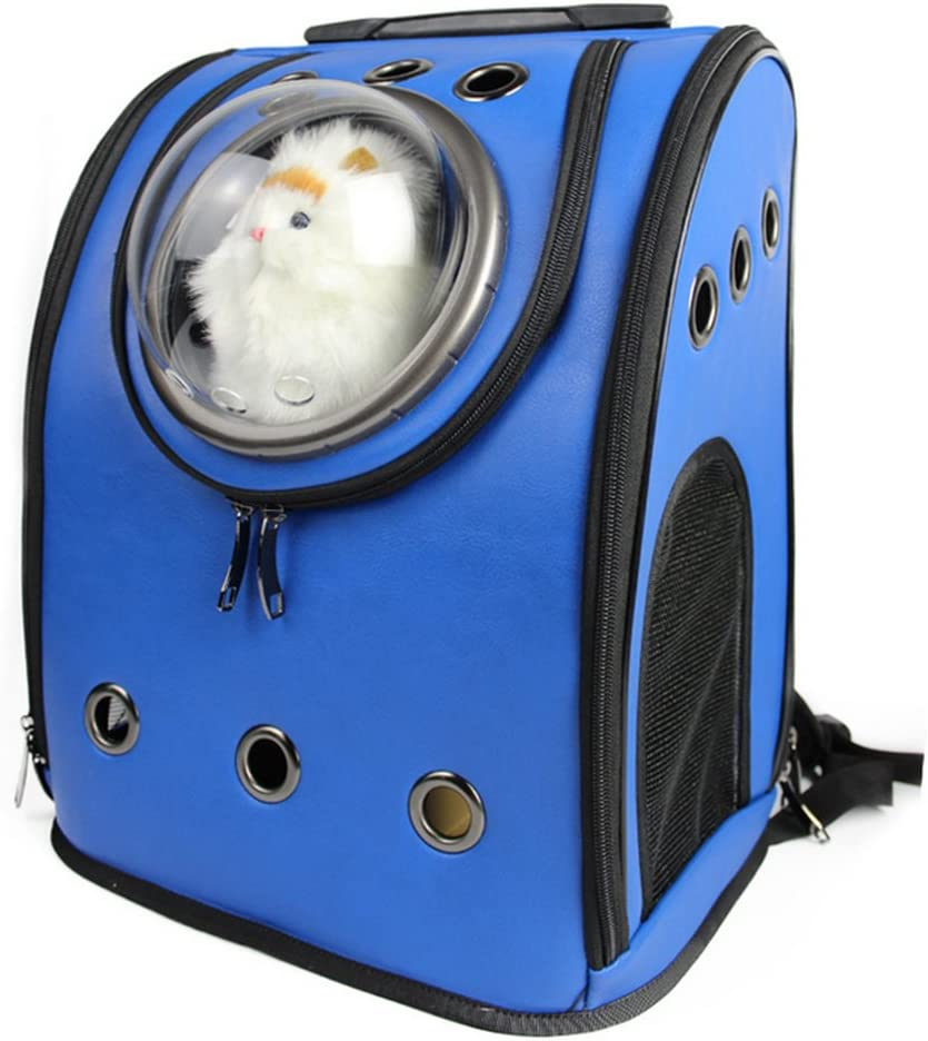 Petforu Pet Carrier Backpack, Space Capsule Dog Cat Small Animals Travel Bag – Blue