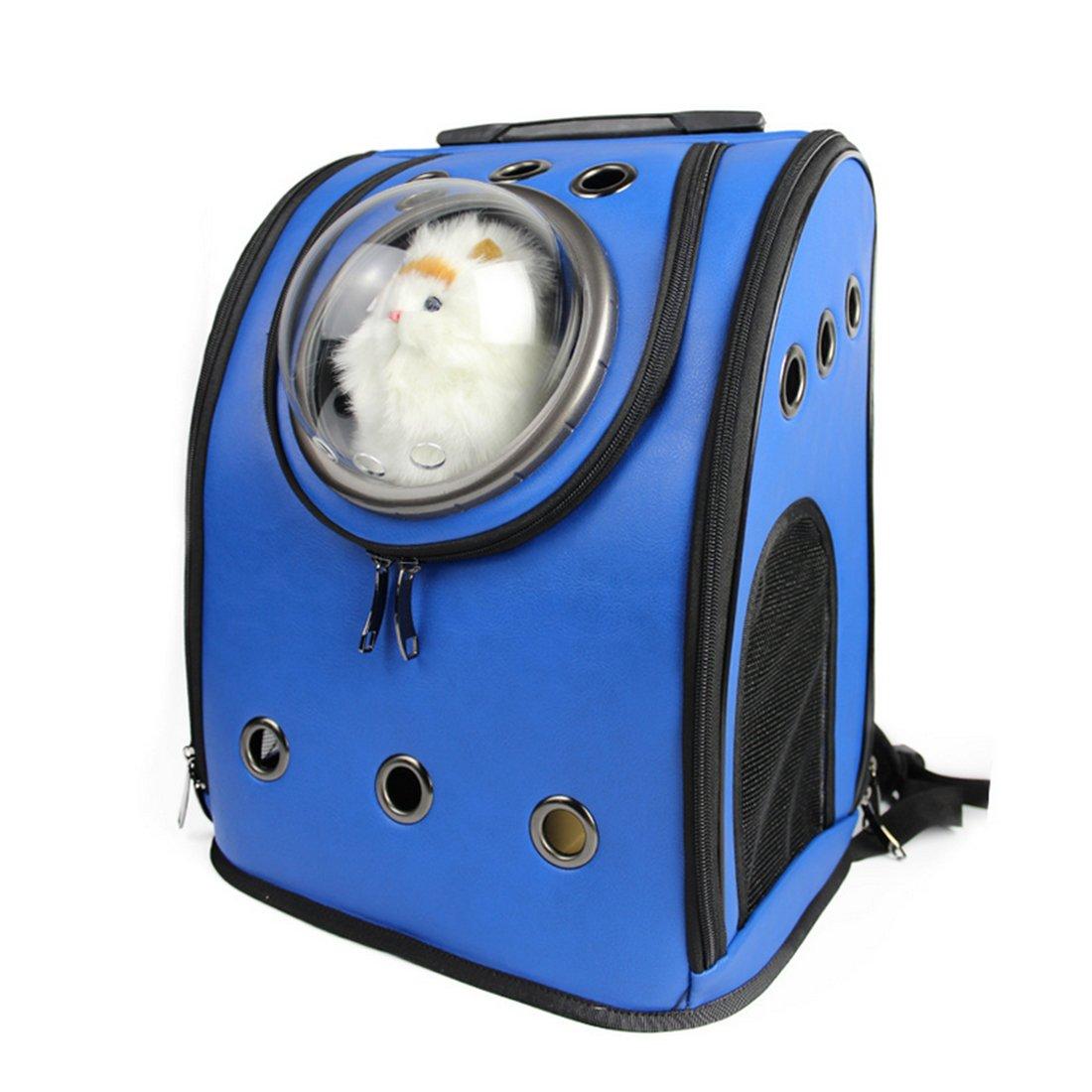 Petforu Pet Carrier Backpack, Space Capsule Dog Cat Small Animals Travel Bag – Blue