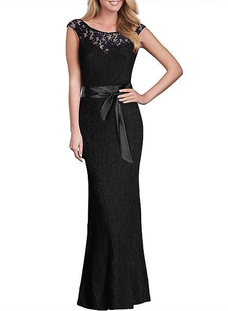 6468984b535c KAXIDY Vestiti da Donna Colletto Tondo Vestito Pizzo Abiti di Sera Abiti  Maxi Abito  Amazon.it  Abbigliamento