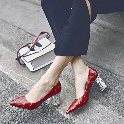 Carolbar Femmes Bout Pointu En Cuir Verni Sexy Talons Hauts Pompes Chaussures Rouge