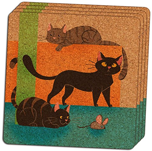"Custom & Cool {4"" Inches} Set Pack of 4 Square ""Grip Texture"" Drink Cup Coasters Made of Cork w/ Cute Cartoon Kitty Cats & Mouse Abstract Design [Colorful Blue, Tan, Green & Orange]"