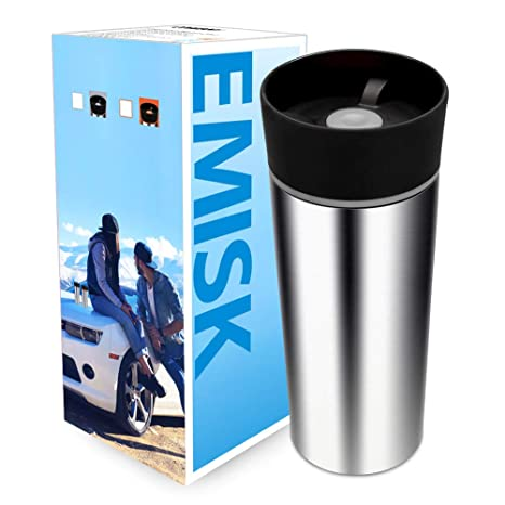 3b2664e275d Coffee Travel Mug with Spill Proof 360°Drinking Lid, EMISK 18/8 Stainless