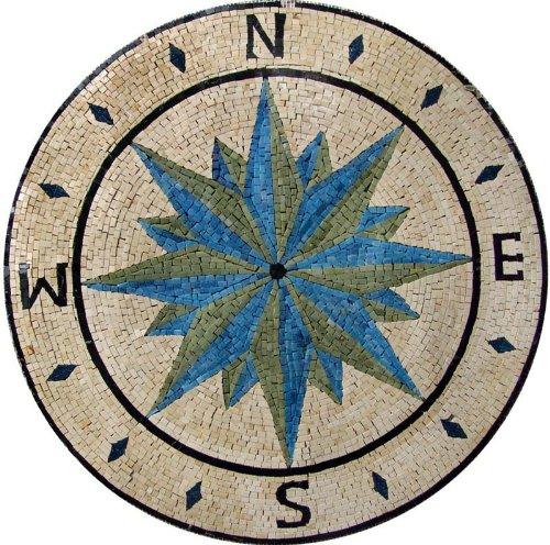 Compass Wind Rose Medallion Marble Mosaic Stone Art Tiles Hand Made Wall Floor BAth Decor ON SALE