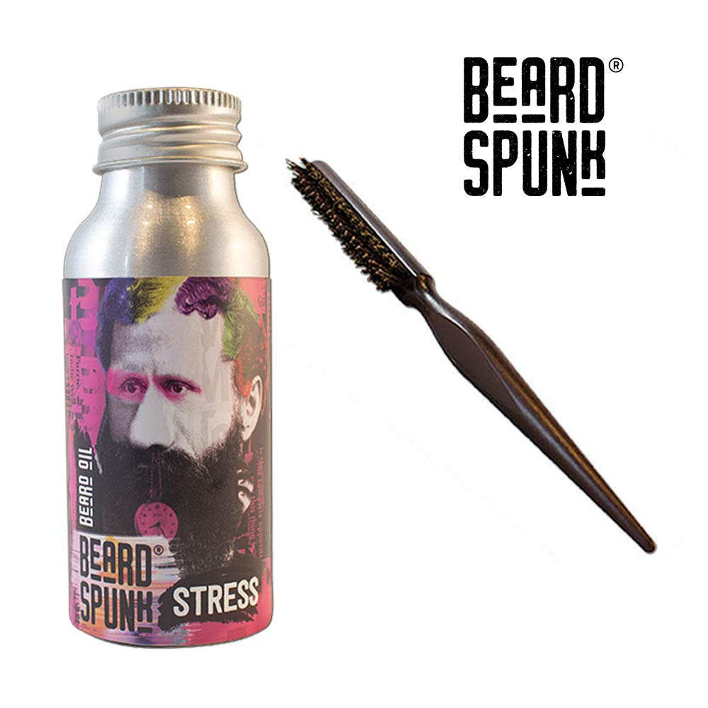 Beard Spunk ® GERANIUM Premium Beard & Moustache Oil Kit With Beard Boar Brush - Large Bottle 50ml