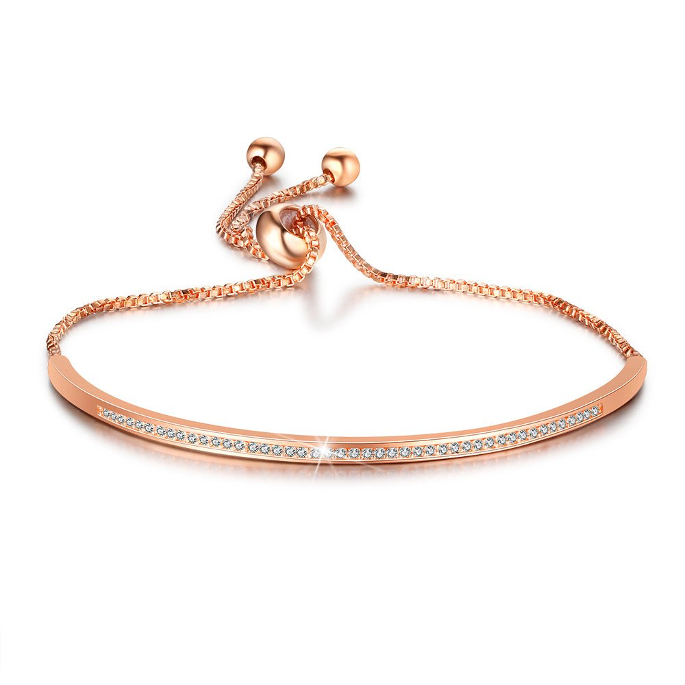 ASHMITA 14K Rose Gold Bracelets for Women Friendship CZ Bracelet with Slide Chain Dainty Jewelry