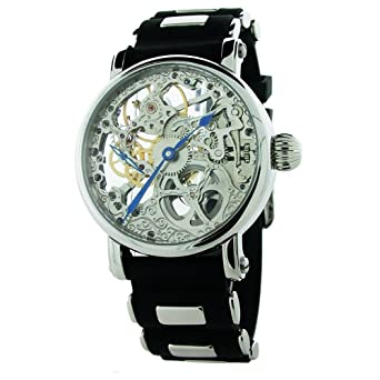 Amazon.com: Rougois Hand Wind Silver Tone Skeleton Watch W/Blue ...