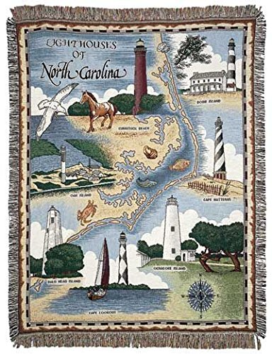 Simply Home Lighthouses of North Carolina Tapestry Throw Blanket