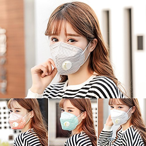 Bigmai Dust Masks with Valve, Anti Pollution Face Mask for Men and Women, for Indoor and Outdoor Activities (Lattice)