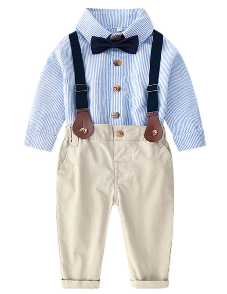 Baby Boys Formal Clothes, Long Sleeves Button Down Dress Shirt and Suspender Pants Set Tuxedo Wedding Gentlemen Outfit with Bow Tie, 8# Light Blue Pin Stripe, 12-18 Months = Tag 90 by DAIMIDY