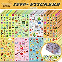 Sinceroduct Christmas Stickers Assortment Set Collection for Kids, Total 1800 PCS for Craft Scrap-Booking, Great Present Idea for Children, Including Animals, Hearts, Balls, Birds,and More