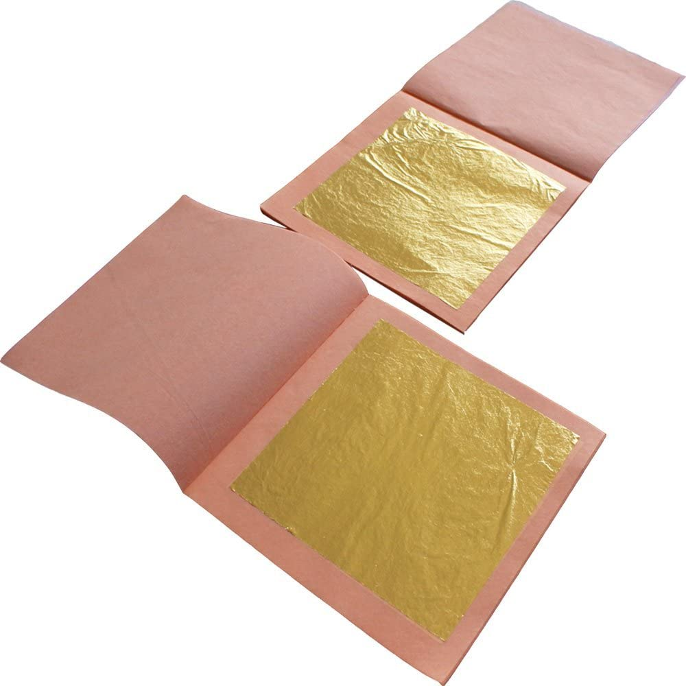 1 Booklet 25pcs// Booklet 24K Genuine Real Edible Gold Leaf Facial Gilding Foi...