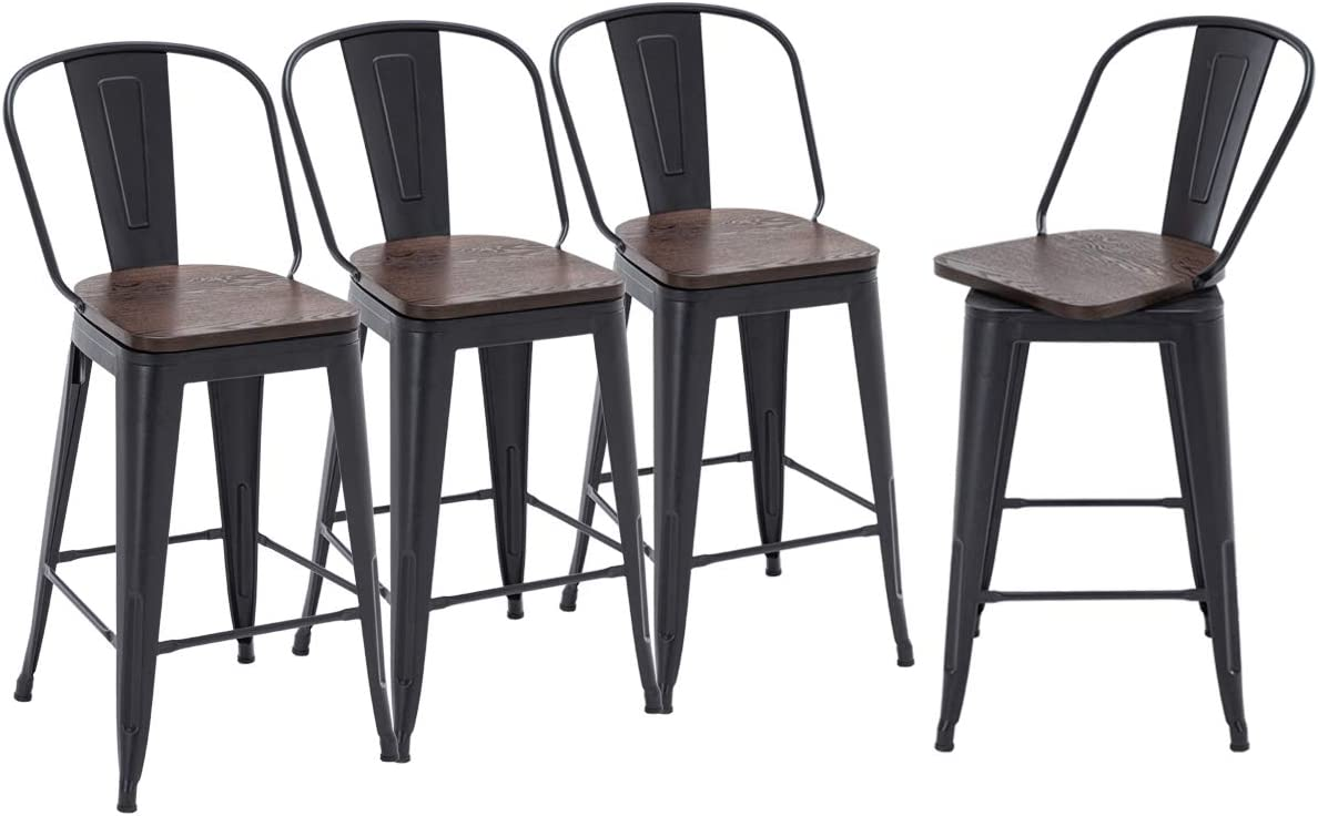 HAOBO Home Swivel Metal Barstools High Back Counter Bar Stools Set of 4 Matte Black with Wooden Seat, Swivel 30 inch