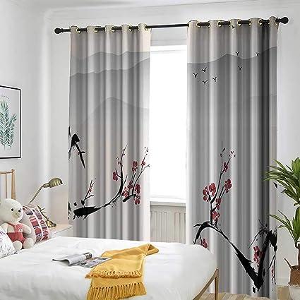 Amazon.com: Asian Decor Living Room/Bedroom Window Curtains ...