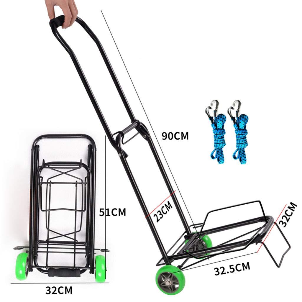 zusammenklappbar f/ür einfache Aufbewahrung und um 360 Grad schwenkbare R/äder mit 30 kg Tragkraft Handwagen mit beweglicher Plattform Einkaufswagen Schiebewagen Dolly mit 2 elastischen Seilen