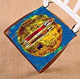 HandsToMeB Oil Painting Chair Pad, Africa Women Retro Vintage Style Seat Cushion Chair Cushion Floor Cushion Two Sides Size 16x16 inches