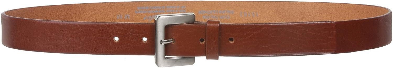 1 1//8 Bovine Leather Plain Belt with Satin Nickel Buckle