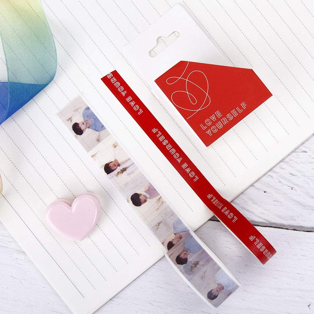 BTS Twice Wanna ONE EXO Blackpink Seventeen Cute Washi Tape DIY Masking Tape Decorative Masking Tape for BTS Journal and Gift Wrapping Hosston Kpop BTS Tape Style 01-BTS
