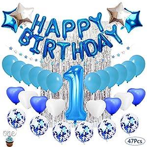 Kyrieval - Decoración de cumpleaños para niño, 1 año de ...