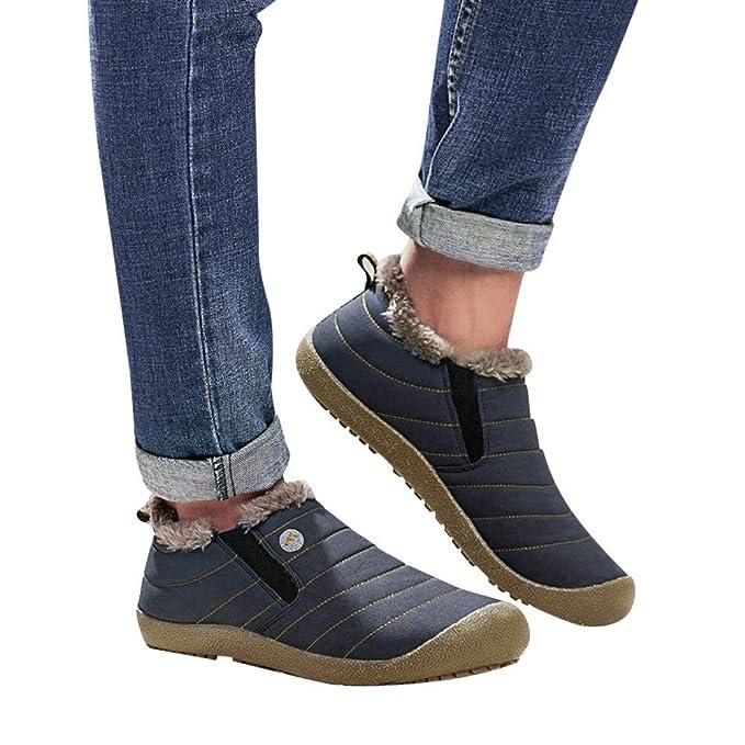 Zapatos Impermeables para Mujeres, Botas de Nieve sin Cordones Zapatos de algodón Impermeables