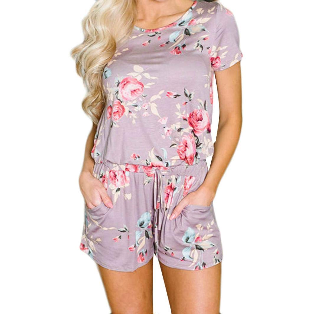 0e46acb6b27 Amazon.com  Rambling Women s Summer Floral Printed Jumpsuit Short Sleeve  Tie Back Loose Cute Casual Jumpsuit Rompers Shorts Pockets  Clothing