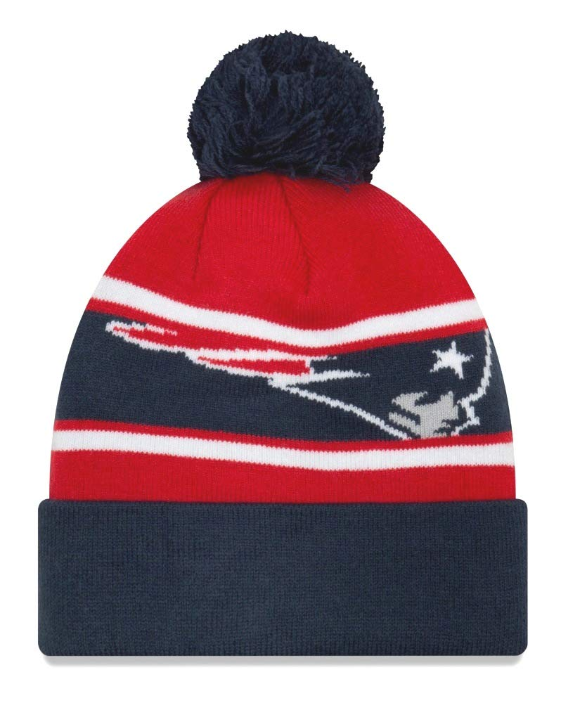 a232e202329 Amazon.com   New Era New England Patriots Youth NFL Junior Callout Cuffed  Knit Hat with Pom   Sports   Outdoors