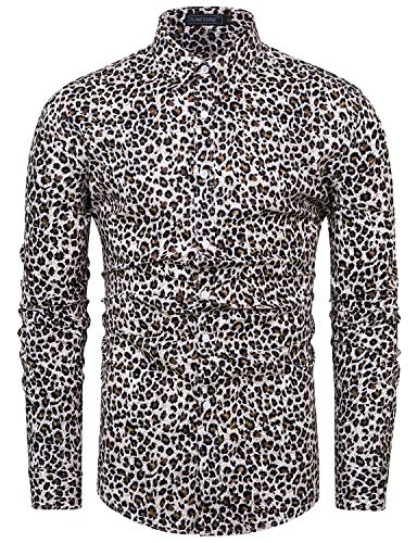 TUNEVUSE Men Floral Dress Shirts Long Sleeve Casual Button Down Shirts 100% Cotton Leopard Print Medium