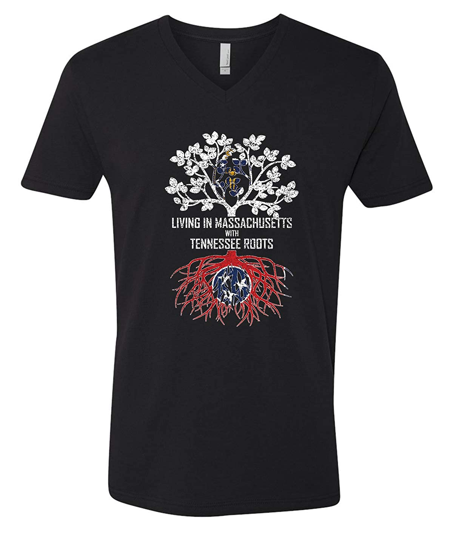Tenacitee Mens Living in Massachusetts Tennessee Roots T-Shirt