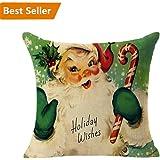 Christmas Pillow Case,Beautyvan Christmas Linen Square Throw Flax Pillow Case Decorative Cushion Pillow Cover (D)