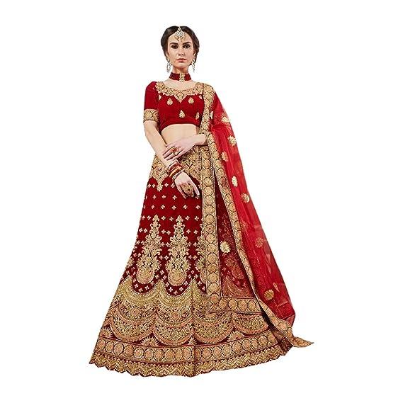 30624ae62b2321 Velvet Embroidered Red Bridal Lehenga Choli Net Heavy Border Dupatta 7726:  Amazon.in: Clothing & Accessories