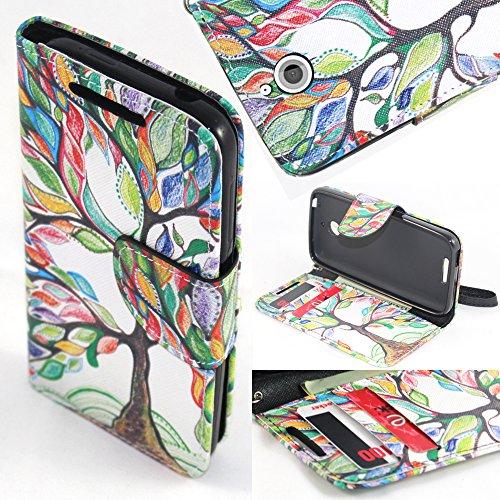Desire 510 Wallet Case, SOGA PU Leather Magnetic Flip Design Wallet Case for HTC Desire 510 (Sprint, Cricket, Virgin Mobile, Boost Mobile) - Colorful Tree of Life [SWE282] ()