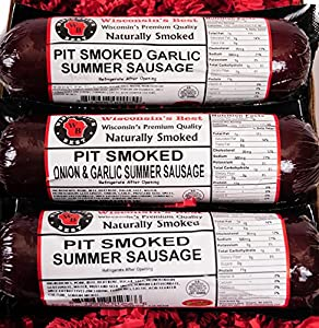 PIT Smoked Summer Sausages Assorted Gift Basket - Perfect for Guys - features Garlic, Original and Onion & Garlic - Man Food