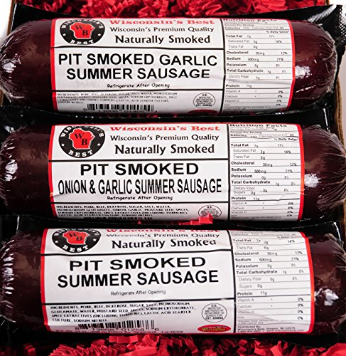 Real Wisconsin Pit-Smoked Summer Sausage Sampler Gift Basket- Original,Garlic, and Onion and Garlic!! Perfect Christmas Holiday Gourmet Gift for Family, Friends & Co-Workers.