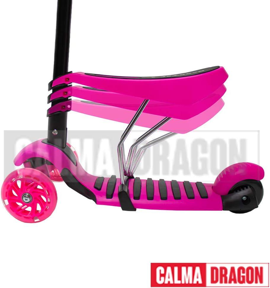 Calm Dragon Scooter YX-S49 3 in 1, Tre Ruote a LED, Regolabile in Altezza con Cestino di Scarabeo, per Ragazzi e Ragazze, con Protezione Regalo rosa