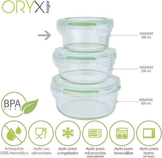 ORYX 5024050 Recipiente Hermetico Cristal Redondo 400 ml. Ø 125 x ...