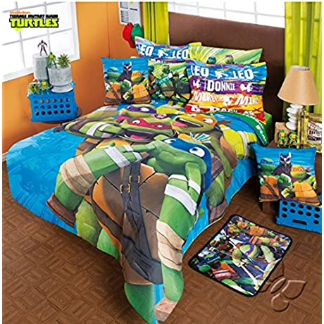 NINJA TURTLES 100 MICROFIBER COMFORTER SET SHEET SET AND WINDOWS PANELS 11 PCS QUEEN