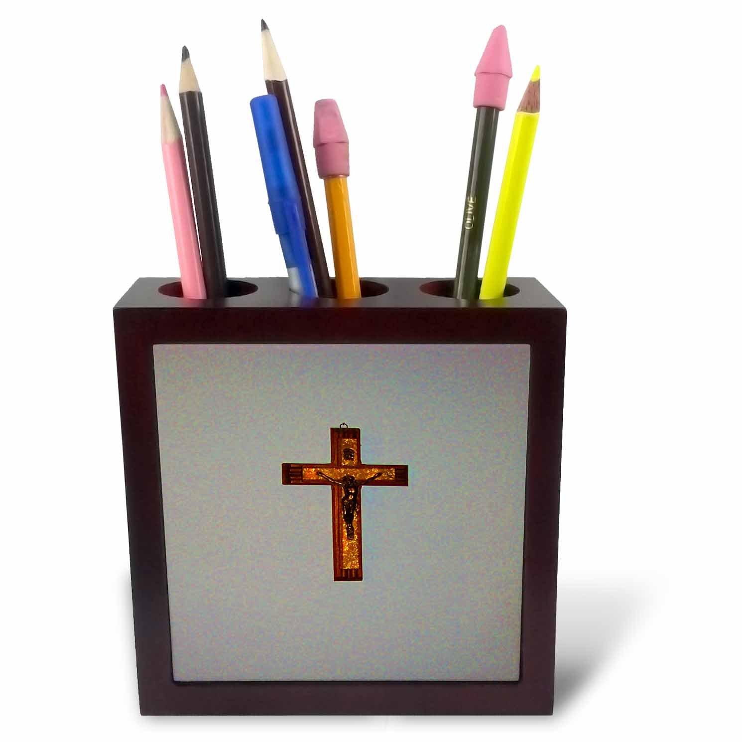 3dRose TDSwhite – Miscellaneous Photography - Christian Prayer Bible Study Crucifix Cross - 5 inch Tile Pen Holder (ph_285325_1)