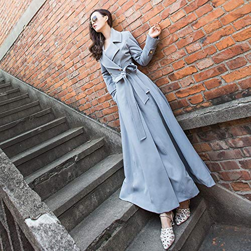 Medium Blue vent S Slim Shukun Length Manteau Autumn Classic Coupe Winter Coat Lady's Lacets vqwSqxEg