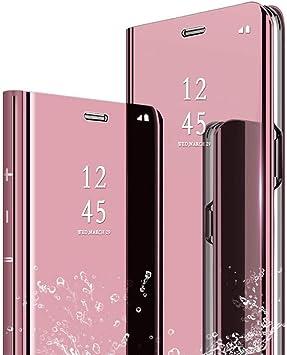 TVVT Espejo Funda para Xiaomi Mi 8 Lite, Mirror Cuero Carcasa ...