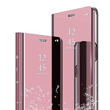TVVT Espejo Funda para Huawei P8 Lite 2017, Mirror Cuero Carcasa Ventana de Espejo Transparente Visión Clara Case Flip Plegable Libro Carcasa Modelo ...