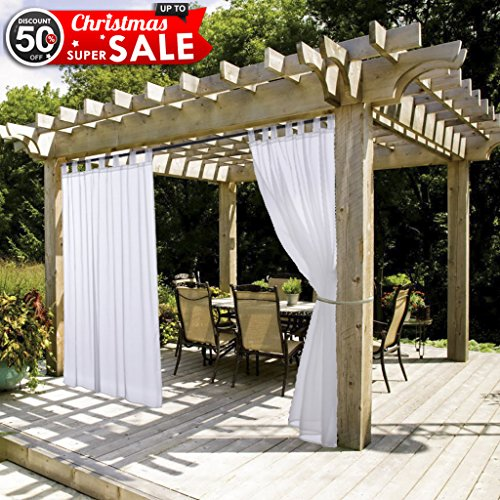Outdoor Curtain Panel with Rope Tieback - NICETOWN Fade Resistant Tab Top Indoor Outdoor Sheer Voile Drape with Rope Tieback (1 Piece, 54 x 96 Inch in White)