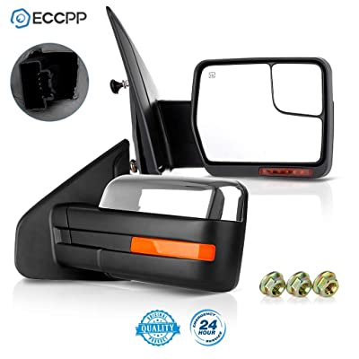 ECCPP Pair Set Replacement fit for Ford F-150 2007-2014 Chrome Towing Mirror Power Heated Puddle Light Turn Signal Side View: Automotive [5Bkhe2000500]