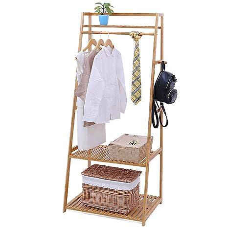 TLMY Perchero de bambú Dormitorio Colgador Creativo Piso ...