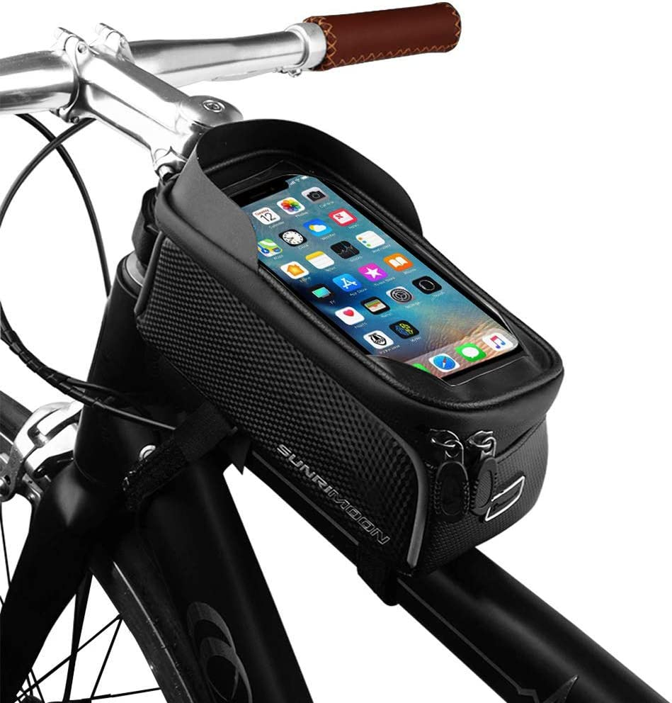 Cycling Bike Bicycle Front Tube Frame Phone Holder Bag Phone Pouch Tape Mounted