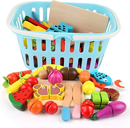 Childs Toy Grocery Basket Play Food Kids Shopping Fun 40 Items Cutlery Roleplay