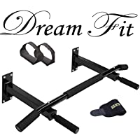 Dreamfit CH Steel Wall Mounting Chin-Up Bar with Free Sweat Belt and Ab Straps Fitness Combo